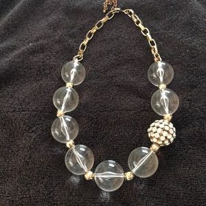 Lucite And Rhinestone Ball Gold Tone Necklace